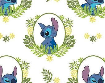 On Sale Lilo and Stitch, Tropical Frame in White, Camelot Fabrics, 1/2 Yard