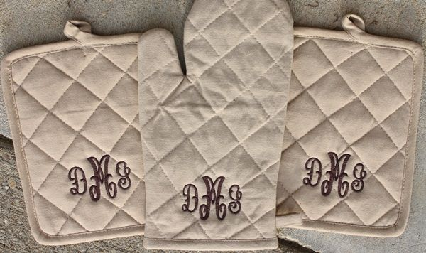 Monogrammed pot holders - cute bridal gift.