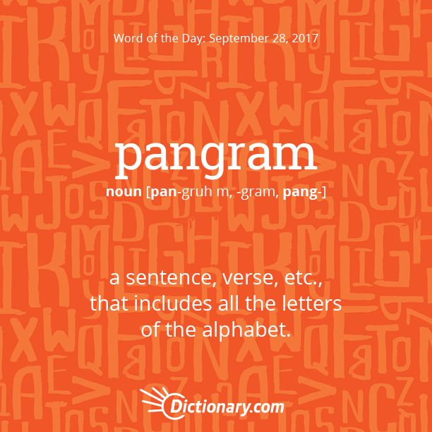 Dictionary.com's Word of the Day - pangram - a sentence, verse, etc., that includes all the letters of the alphabet.