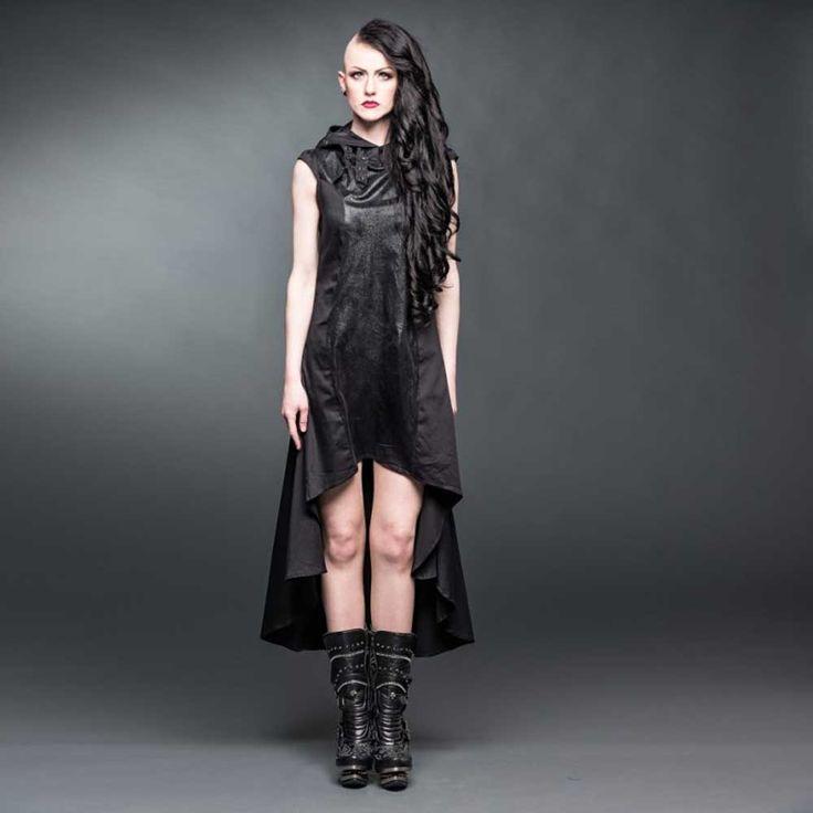 Lange asymmetrische jurk met hoge kraag en capuchon zwart - Metal Rock