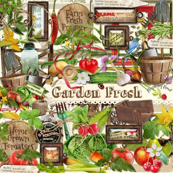A huge vegetable garden themed scrapbook kit from Raspberry Road Designs.