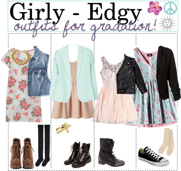 """Girly - Edgy outfits for graduation !"" by teenagetippers-xo ❤ liked on Polyvore"