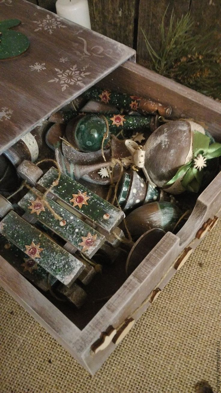"""Купить Набор новогодний """"Старинные игрушки 2"""" - коричневый, набор, новогодний, игрушка, новогодний сувенир"""