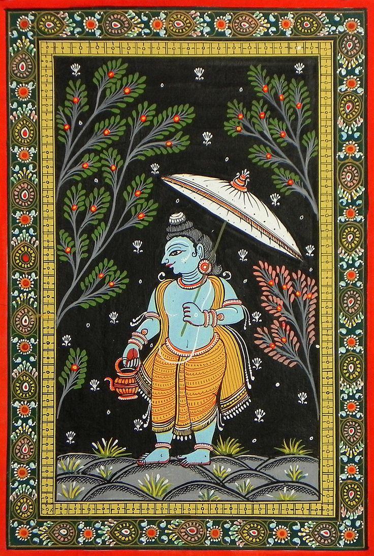 Vaman Avatar - Fifth Incarnation of Lord Vishnu (Orissa Pattachitra Painting on Patti - Unframed)