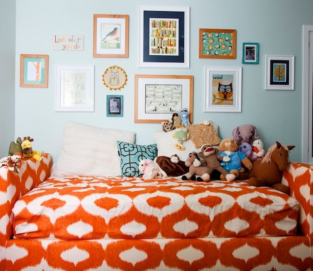 Nursery Aqua Gallery Wall Orange Ikat Daybed By Eaken Reeser Find This Pin And More On Living Room Picture Collage