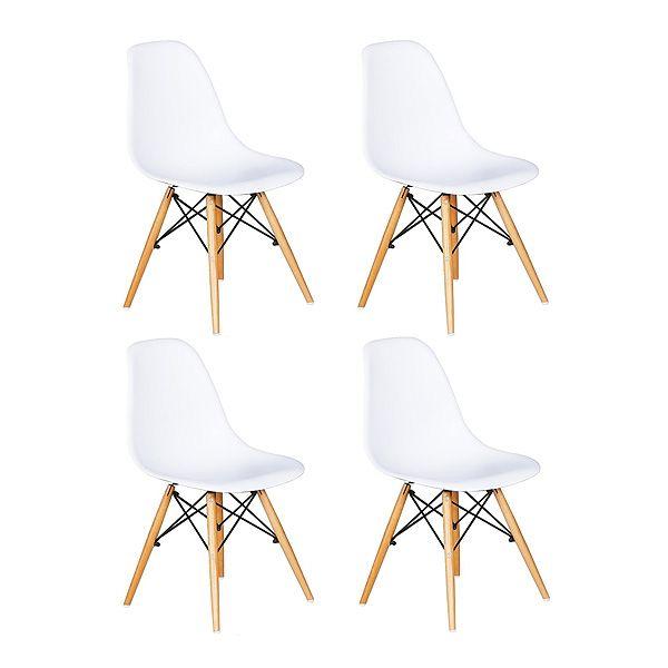 Juego de 4 sillas blancas con asiento de resina y patas de madera