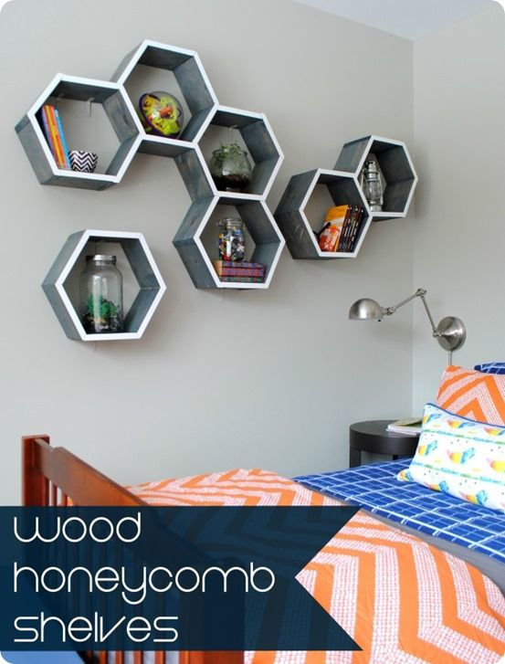 DIY honeycomb wall shelves inspired by Land of Nod