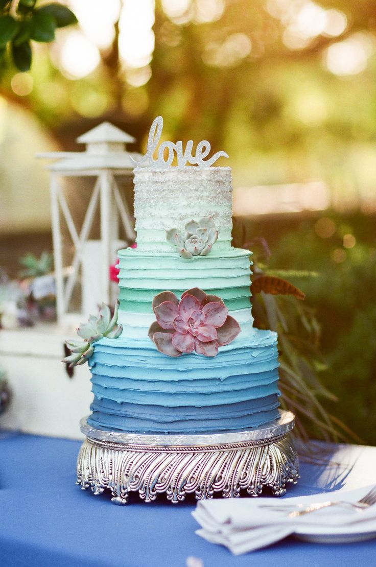 Wedding Cake For Twofatedladies Mint And Royal Blue