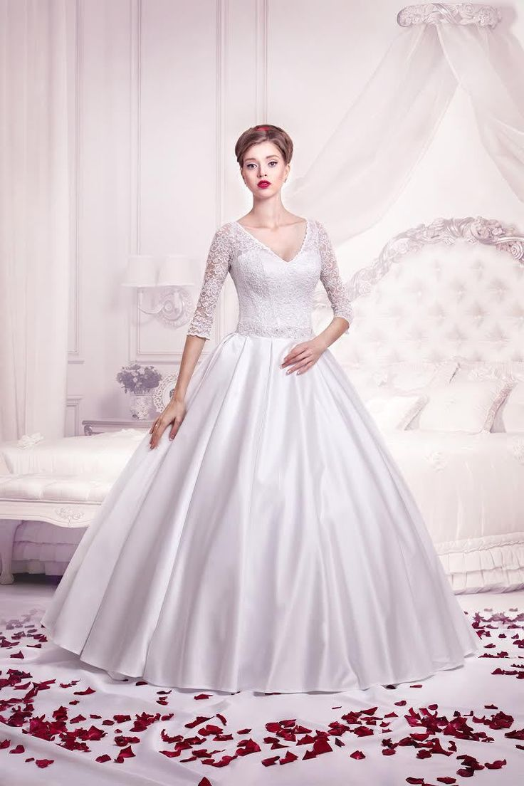 Fantastic Price Right Now On Wedding Gowns here - Product http://glamourgownsandheels.com.au/a-line-satin-wedding-gown-with-lace-sleeves/  #dimirabridal #wedding #bridal
