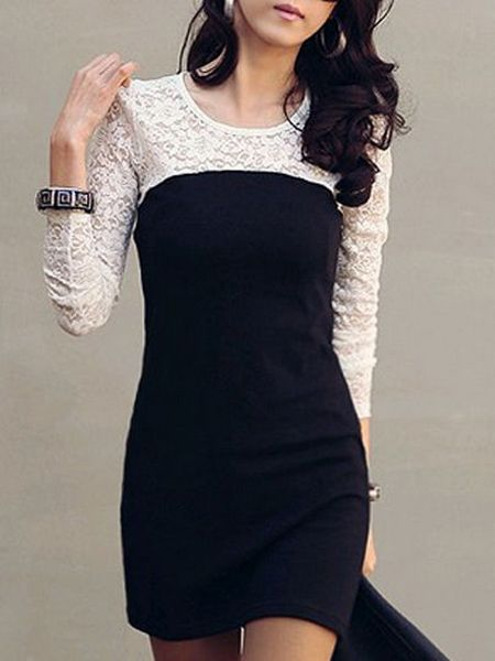 2 Color  Illusion  Lace Patchwork Bodycon-dress Bodycon Dresses from fashionmia.com