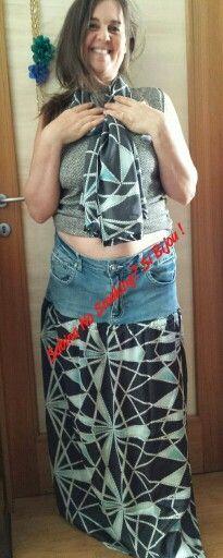 Gonna nuova da jeans vecchi foulard eguale e maglietta corta ,tutto rigorosamente fatto da me