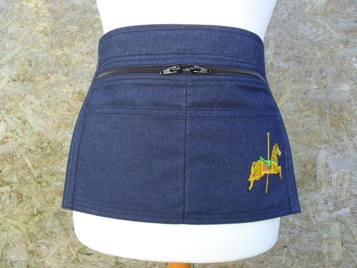 Small / Junior Denim Market Trader Money Pocket / Vendor Money Apron with embroidered Carousel Horse.  Craft Apron.  Item No. LDC0450 by LDCcreations on Etsy