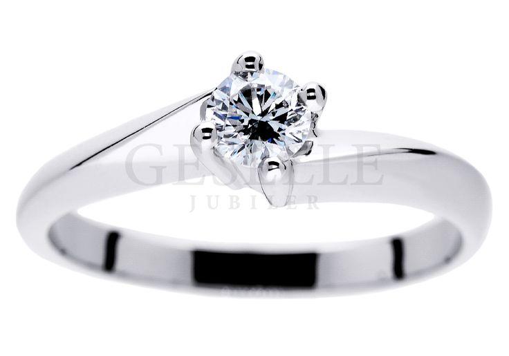 Niezwykły pierścionek zaręczynowy z białego złota z brylantem o masie 0,23 ct, wyjątkowej barwie i czystości - certyfikat GIA - GRAWER W PREZENCIE
