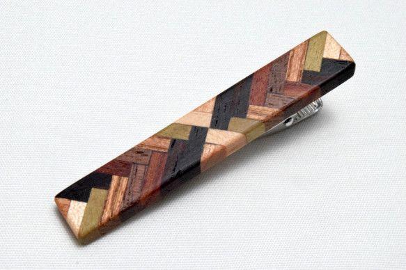 [再出品]【寄木】手作り木製タイピン クロム金具|タイピン・カフス|micchi-|ハンドメイド通販・販売のCreema