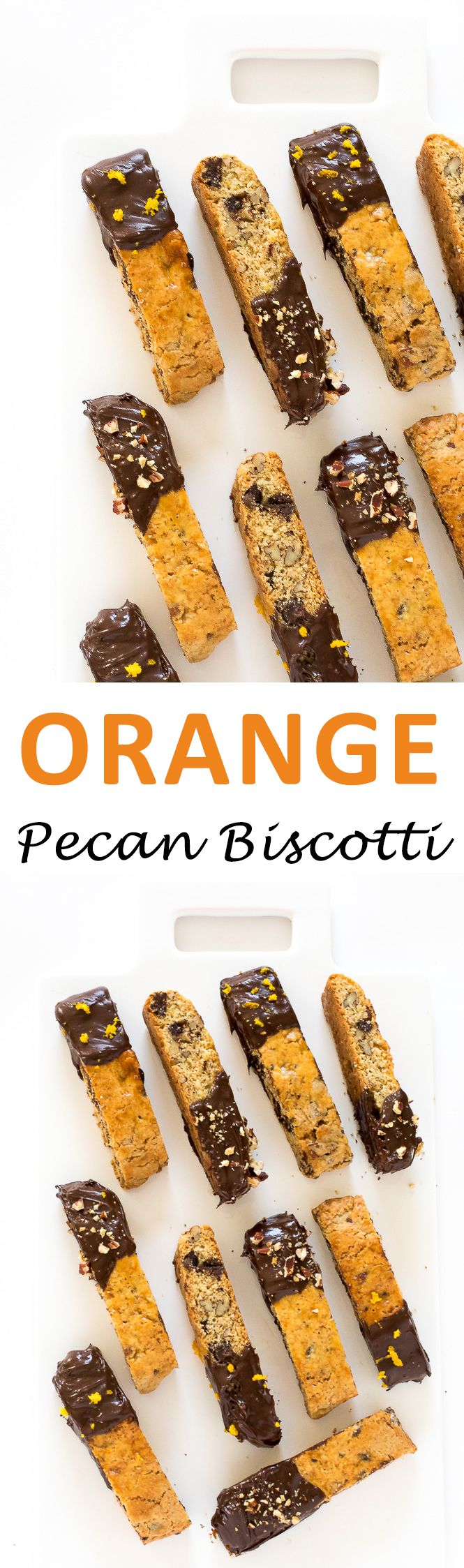 Orange Chocolate Chip Biscotti. Crisp biscotti dipped in chocolate then sprinkled with orange zest! | chefsavvy.com #recipe #food #dessert #pecan #biscotti