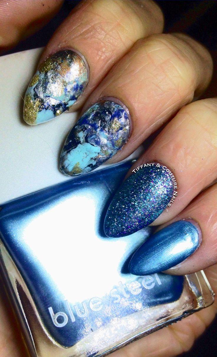 DIY Splatter Feature Nails & Blue Steel Chrome Mani :).