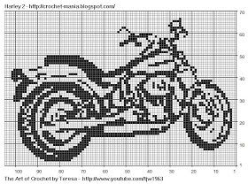 Free Filet Crochet Charts and Patterns: Filet Crochet Motorcycle - Harley 2