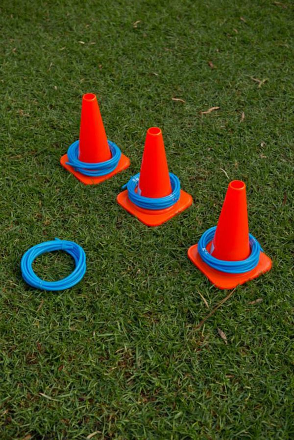 Cone Toss: Kids had reels of pipes to try and throw over the safety cones/witches hats