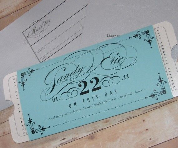 Formal wedding ticket invitations