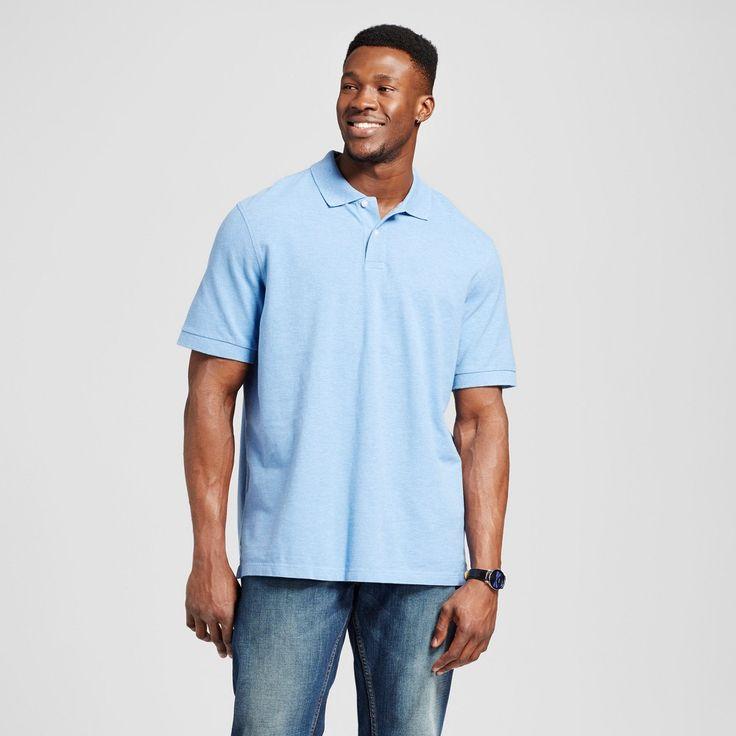 Men's Big & Tall Polo Shirt Blue L Tall - Merona