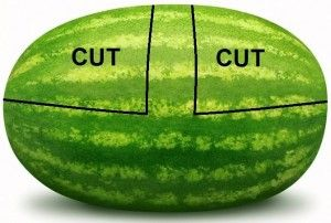 cutting a watermelon basket...