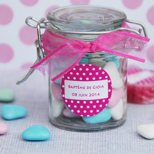 Bocal à dragées ou à bonbons , illustration pois roses , cadeaux  remerciement invité baptême fille