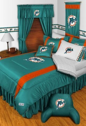 Miami Dolphins NFL Sidelines Complete Bedroom Package by Sports Coverage. $214.99. Our BEST VALUE! Save big and show your team spirit with Miami Dolphins Sidelines Complete Bedroom Package which includes a Comforter, Sheet set, Shams, Pillows, Bedskirt, Drapes and Valance! Buy the complete Bedroom Package and save off our already discounted prices - the best we could find; when you buy the complete bedroom package instead of each piece separately, you save and save big. Mic...