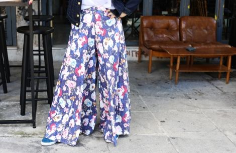 Maria Iliaki in floral wide trousers by Eclectic Soiree @ Panos Kallitsis Salon