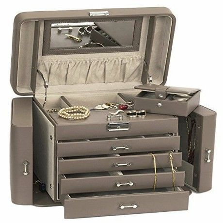 Extra Large Empress Jewellery Box / Jewel Case in Bonded Leather by Mele & Co MINK with Premium Luxury Lining