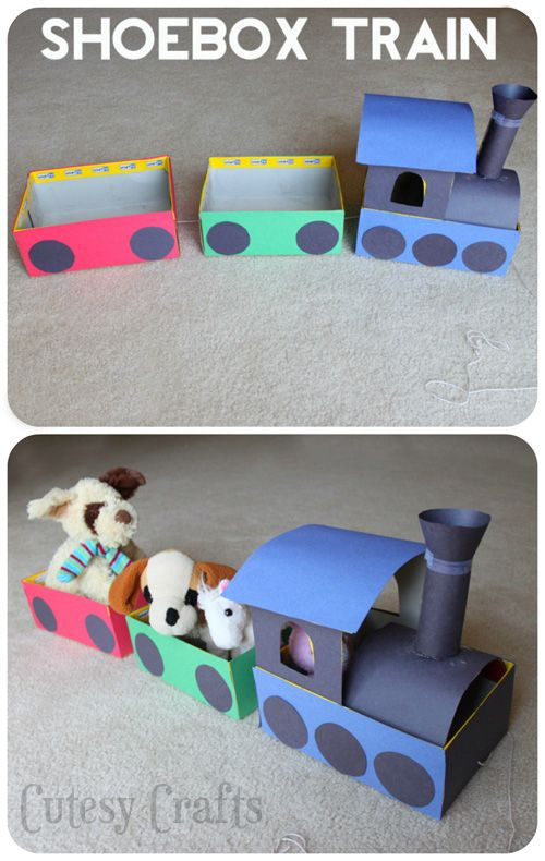 Make a train out of shoeboxes for the kids to pull around the house.  Great craft for learning about trains!