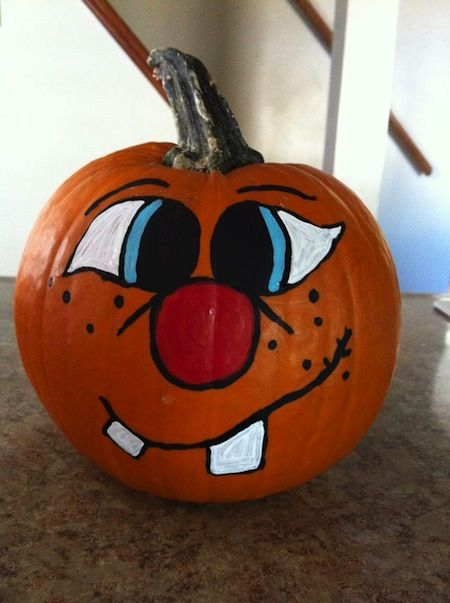 goofy face painted pumpkin