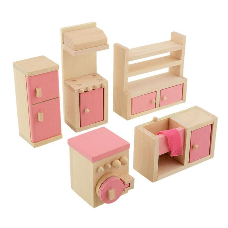 5pcs/set Wooden Dollhouse Furniture Kitchen Set