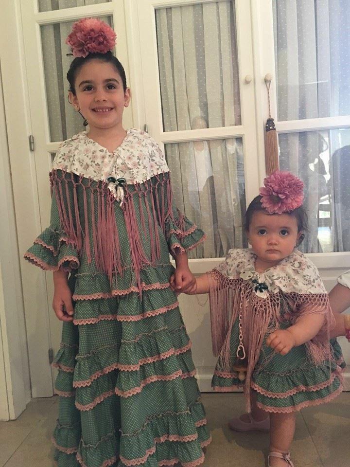 Algodón O Popelin Lunares Gris Y Blanco Con Picunela Rosa Palo Traje Flamenca Niña Vestido Flamenco Niña Vestidos De Flamenca