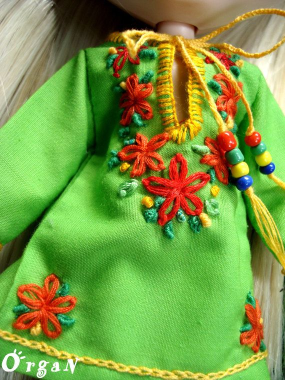 OOAKLight Little India Art Tunic Green DRESSwith hand by organ111, $20.00