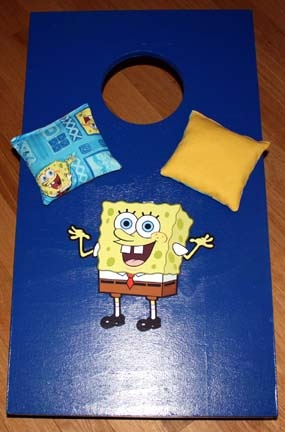 Custom cornhole boards and bags - even kids size boards!