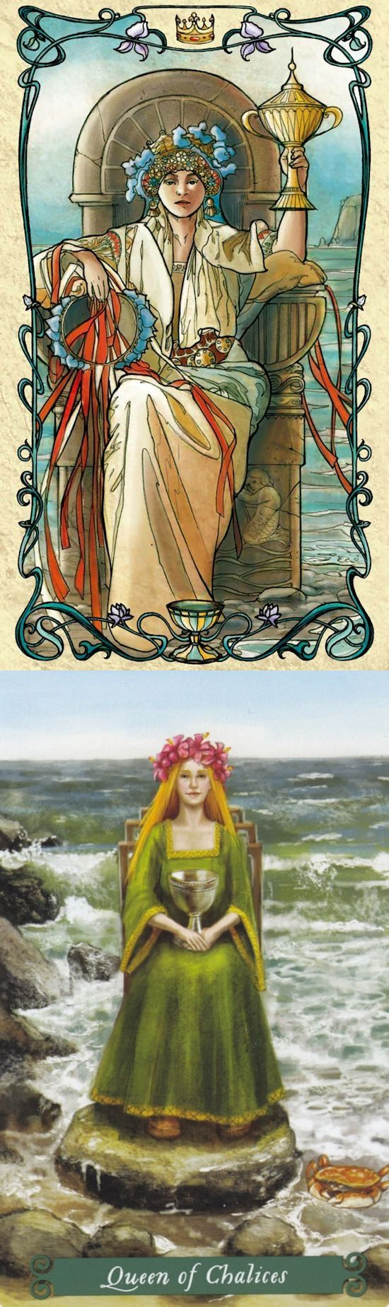 Queen of Cups: compassionate and cold (reverse). Mucha Tarot deck and Green Witch Tarot deck: accurate tarot card reading, latin tarot reading vs free daily tarot. The best gothic and tarot bag tutorial. #tarotdecks #witch #gothwitch #intuition