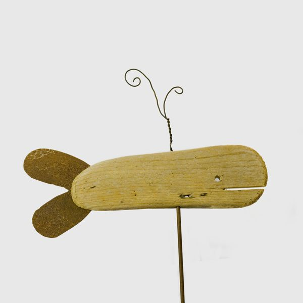 Driftwood whale with wire spout