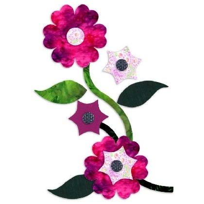 Pink Batik Flower and Leaves Fabric Appliques Die Cut