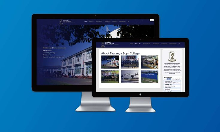 Web Design for Tauranga Boys' College screen shot of home page and about the school page.