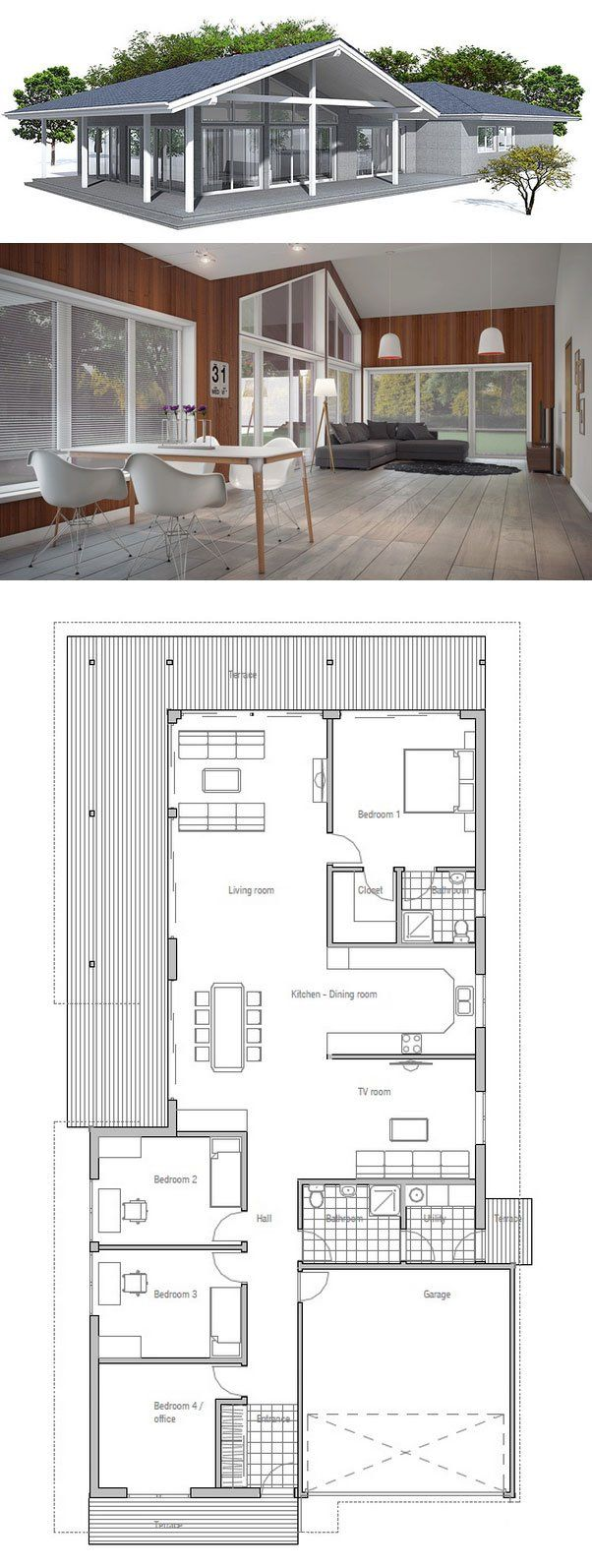 Modern Four Bedroom House Plans 17 Best Ideas About Single Story Homes On Pinterest Modern