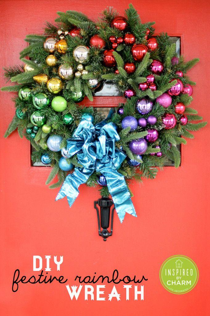 DIY Festive Rainbow Wreath | Inspired by Charm #IBCholidays #12day72ideas