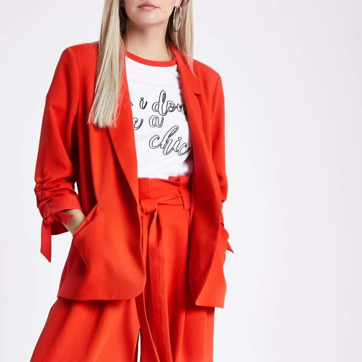River Island Womens Petite Red ruched sleeve blazer