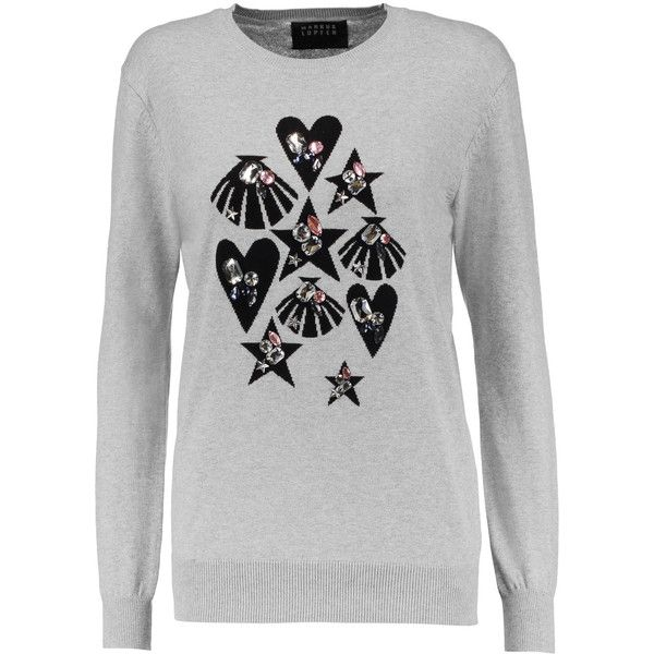 Markus Lupfer Natalie embellished cotton-jersey sweater ($155) ❤ liked on Polyvore featuring tops, sweaters, light gray, intarsia sweater, markus lupfer sweater, lightweight sweaters, loose sweater and loose tops