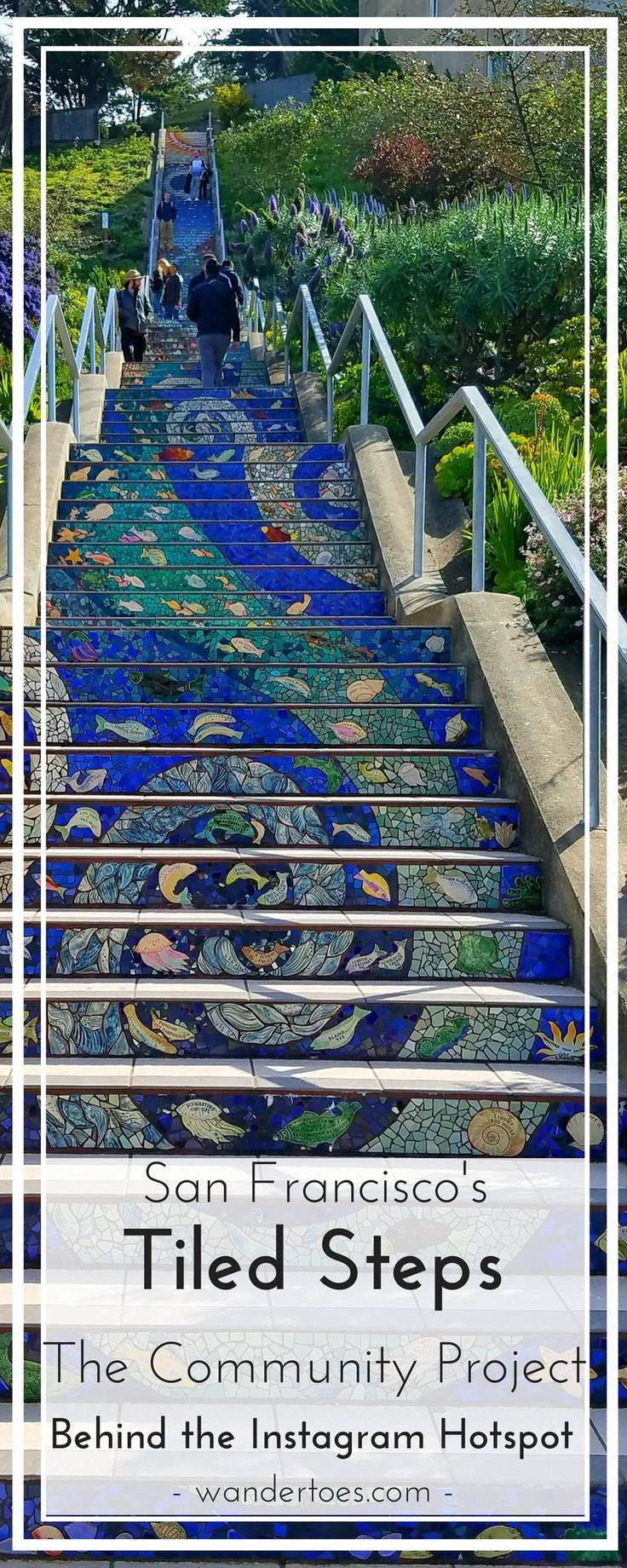 San Francisco, USA: The famous 16th Avenue Tile Stairs are more than an instagrammer's dream, these stairs are the culmination of a neighborhood's vision and desire to combine community building and beautification. San Francisco Tile Stairs | Stair Murals | Stair Mural | Moraga Street Tile Stairs | 16th Avenue Tile Steps |