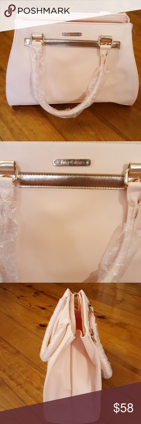 NEW, Juicy Couture handbag Beautiful pale pink Juicy Couture handbag. Never used, still has  wrapping on handles. Very pretty bag. 15 inches wide by 11 inches tall, and 5 inches in depth. Accentuated with gold zipper and buckles on handles. NWOT Juicy Couture Bags