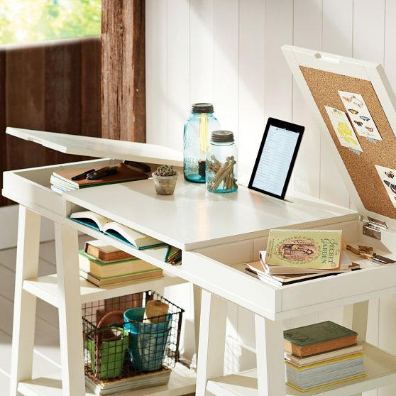Customize-It Project Trestle Desk | PBteen. Look at the slot for a tablet and the hidden cork boards