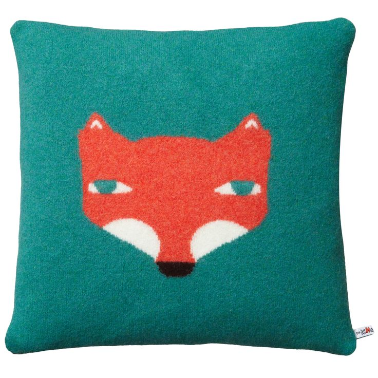 This cheeky fox will keep you company on the sofa!  100% Lambswool. Knitted in Scotland.  Comes with a duck feather cushion pad.