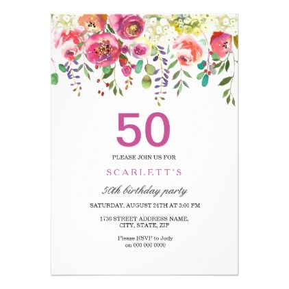 pink peach flowers 50th birthday party invitation birthday party