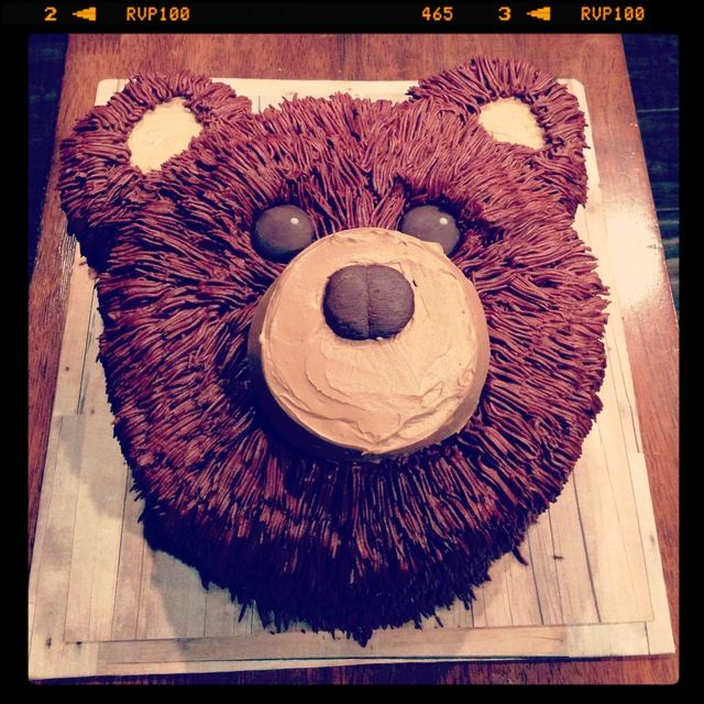 This would be a cute cake for Jake's camping party. Just need a sign that reads, Beware of Bears!