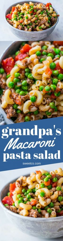 This deliciously easy beefy pasta macaroni salad is so tasty!